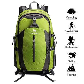 Camel Crown 40L Senderismo Mochila Ligero Viaje Packable Durable Impermeable Deportes Daypack para Acampar Viaje de Pesca Ciclismo Esquí: Amazon.es: ...