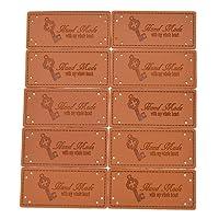 Kesheng 50x PU Labels Tags Etiketten Braun Rechteck Quadrat Nähen Bekleidungszubehör DIY