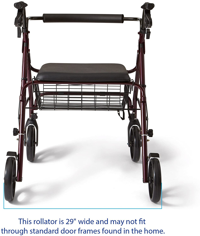 Amazon.com: Andador de aluminio, con ruedas de 8 pulgadas ...