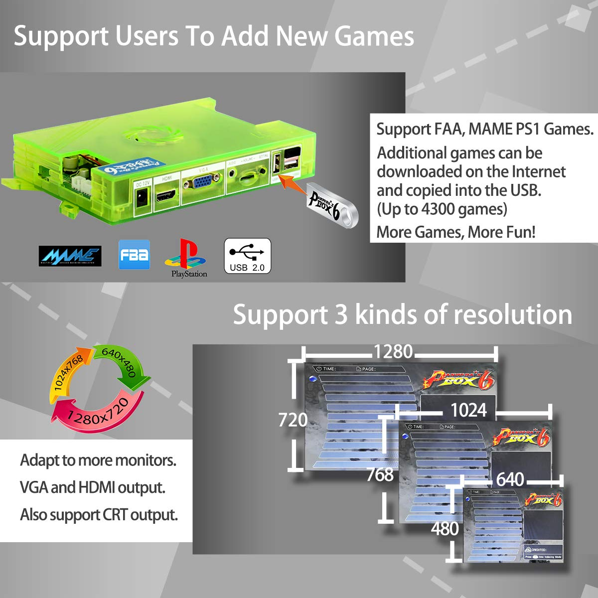 Wisamic Real Pandora's Box 6 Arcade Game Console - Add Additional Games, Support 3D Games, with Full HD, Games Classification, Upgraded CPU, Support PS3 PC TV 2 Players, No Games Included (6 Buttons) by Wisamic (Image #2)