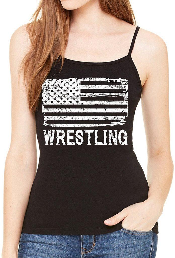 Interstate Apparel Inc Junior's Wrestling American Flag Black Spaghetti Strap T-Shirt Large Black