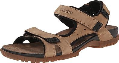 Mephisto Men's Brice Camel/Black Bucksoft Sandal 42 (US Men's ...