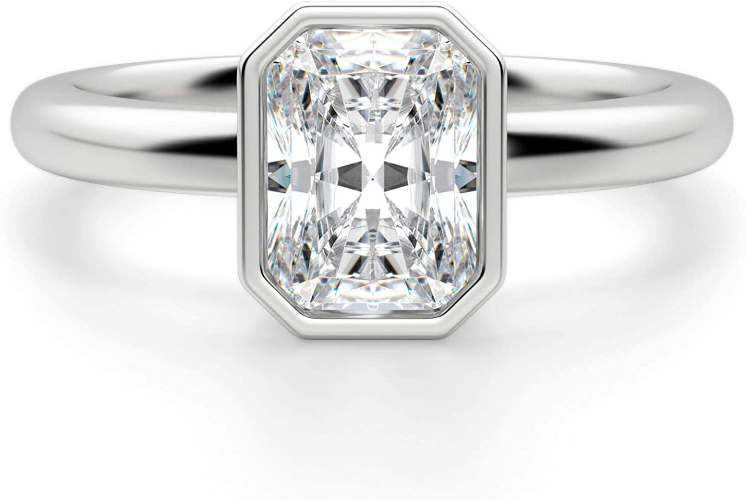 Mossojewels Promise Ring 2.23 CT Radiant Cut DEF Moissanite Engagement /& Wedding Ring White 1418k Gold Radiant Solitaire Engagement Ring