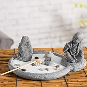 MyGift Japanese Desktop Rustic Cement Buddha Monk Statue Zen Garden Kit with Sand, Rocks & Rake