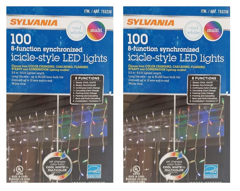Sylvania Christmas Lights 100 Icicle-Style Led Lights 8-Function ...
