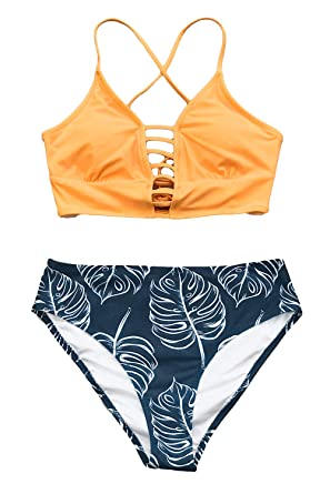 21eace3460 Amazon.com: CUPSHE Women's Yellow and Leaves Print Lace Bikini Set ...