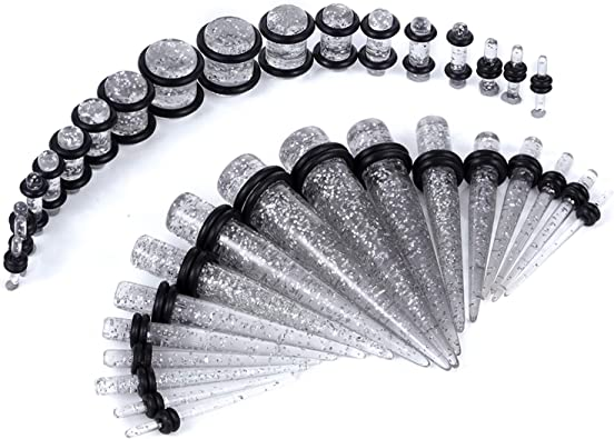 Juego de 36 piezas para dilataciones de piercing, 14G a 00G, con ...
