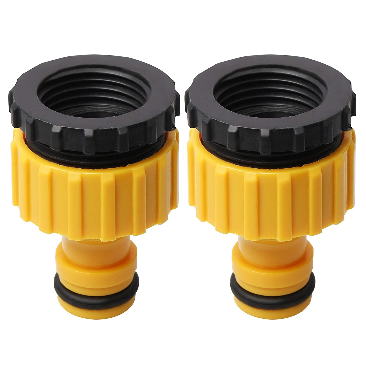 nuosen 2 Pack Plastic Garden Hose Tap Connector, Threaded Faucet Adapter