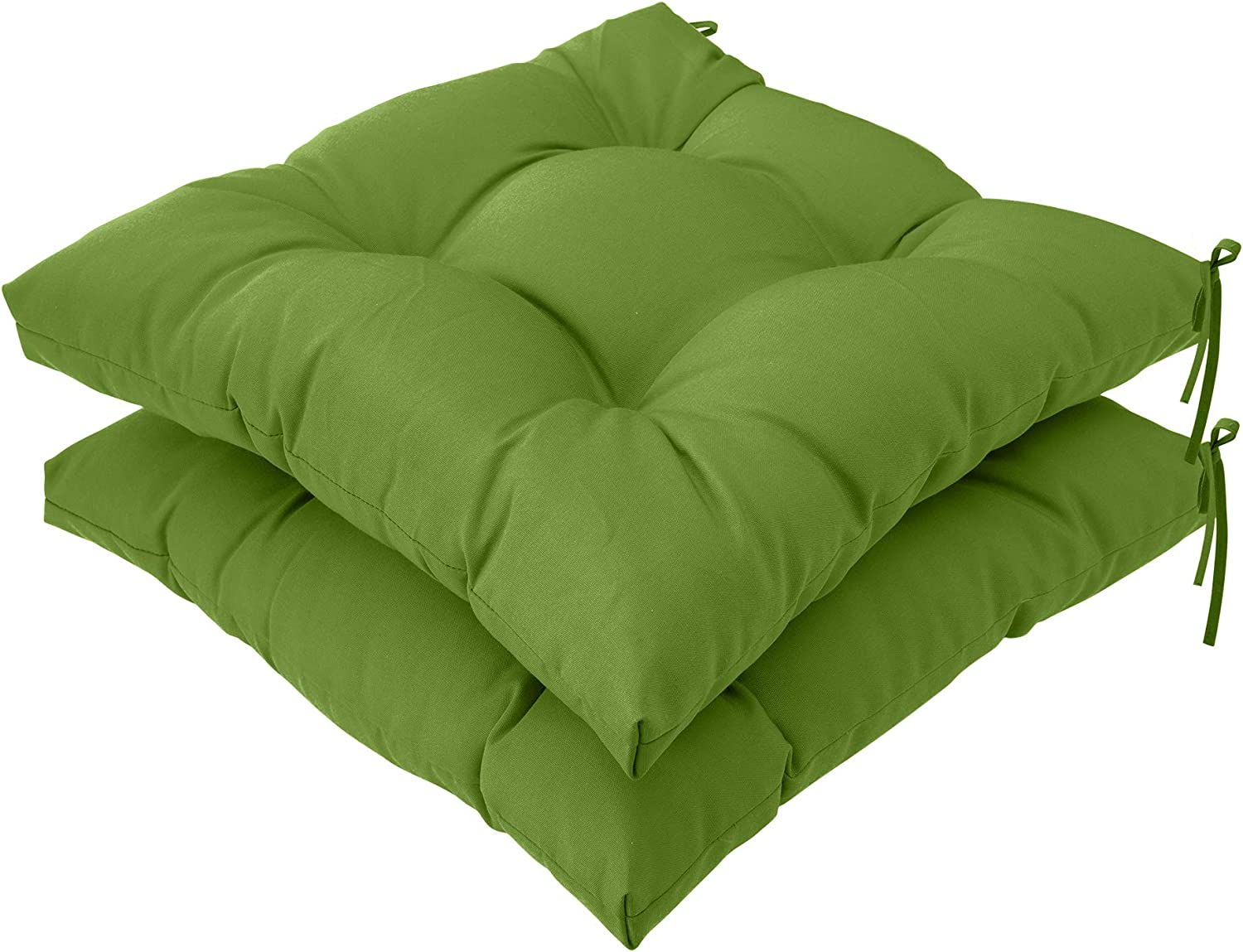 QILLOWAY Indoor/Outdoor All Weather Square Seat Patio Cushion -Pack of 2 ,19-Inches (Green)