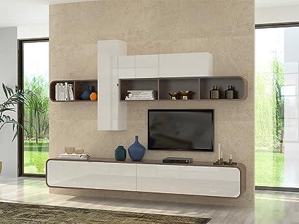 Elbectrade camber parete soggiorno design moderno. bianco walnut
