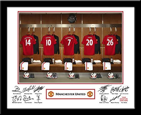 Personalised Manchester United Dressing Room Print Amazon Co Uk Kitchen Home