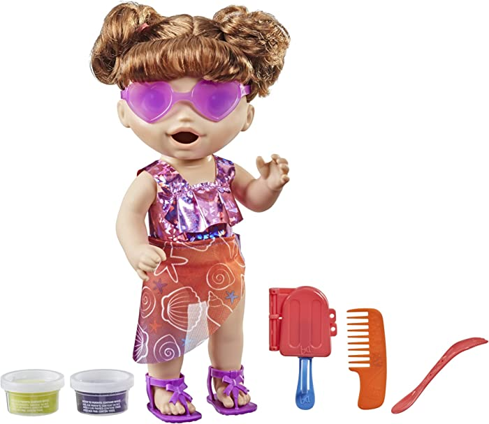 Baby Alive Sunshine Snacks Doll, Eats and Poops, Summer-Themed Waterplay Baby Doll, Ice Pop Mold, Toy for Kids Ages 3 and Up, Brown Hair