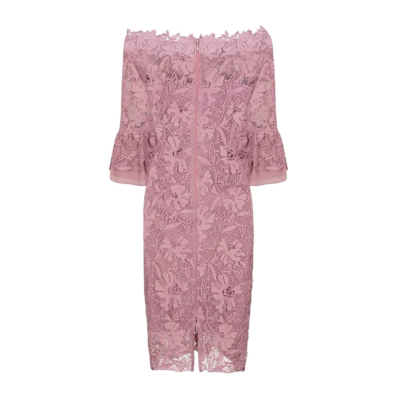 844556a254f6 Paper Dolls Womens/Ladies Crochet Lace Bardot Dress (12 UK) (Mink):  Amazon.co.uk: Clothing