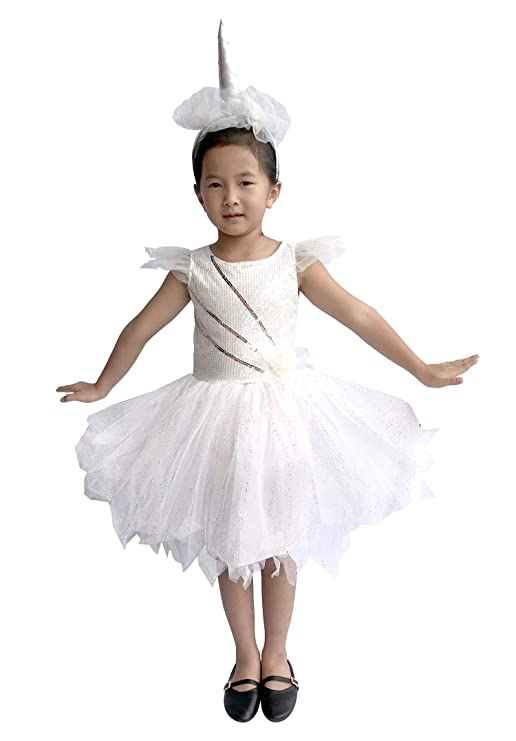 So Sydney Deluxe Girls Sparkle White Unicorn Costume & Accessories, Kid Toddler Halloween Dress-Up (M (5/6), Sparkle White Unicorn)