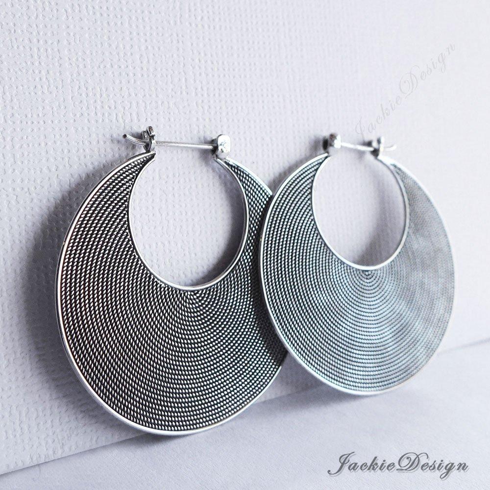 a737e2f5b8e98 40mm Large Crescent Moon Oxidized Sterling Silver Hoop Earrings JD69