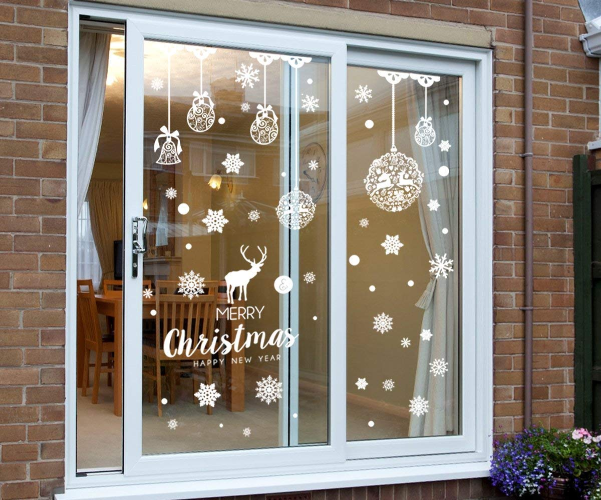 ENTHUR 256 pcs Christmas Snowflake Window Clings Decorations White Baubles//Bells Decal Stickers Winter Wonderland Xmas Party Decorations Ornaments Supplies