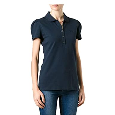 cd73763d5911 BURBERRY Polo - Manches Courtes - Femme - Bleu Marine - L  Amazon.fr ...
