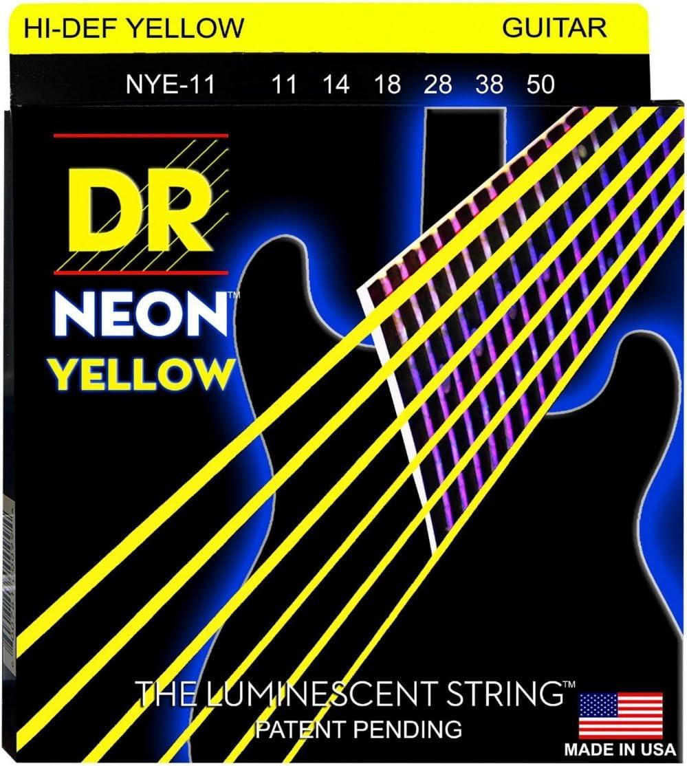 DR Strings 11-50 NEON-Juego de cuerdas para guitarra eléctrica, color amarillo