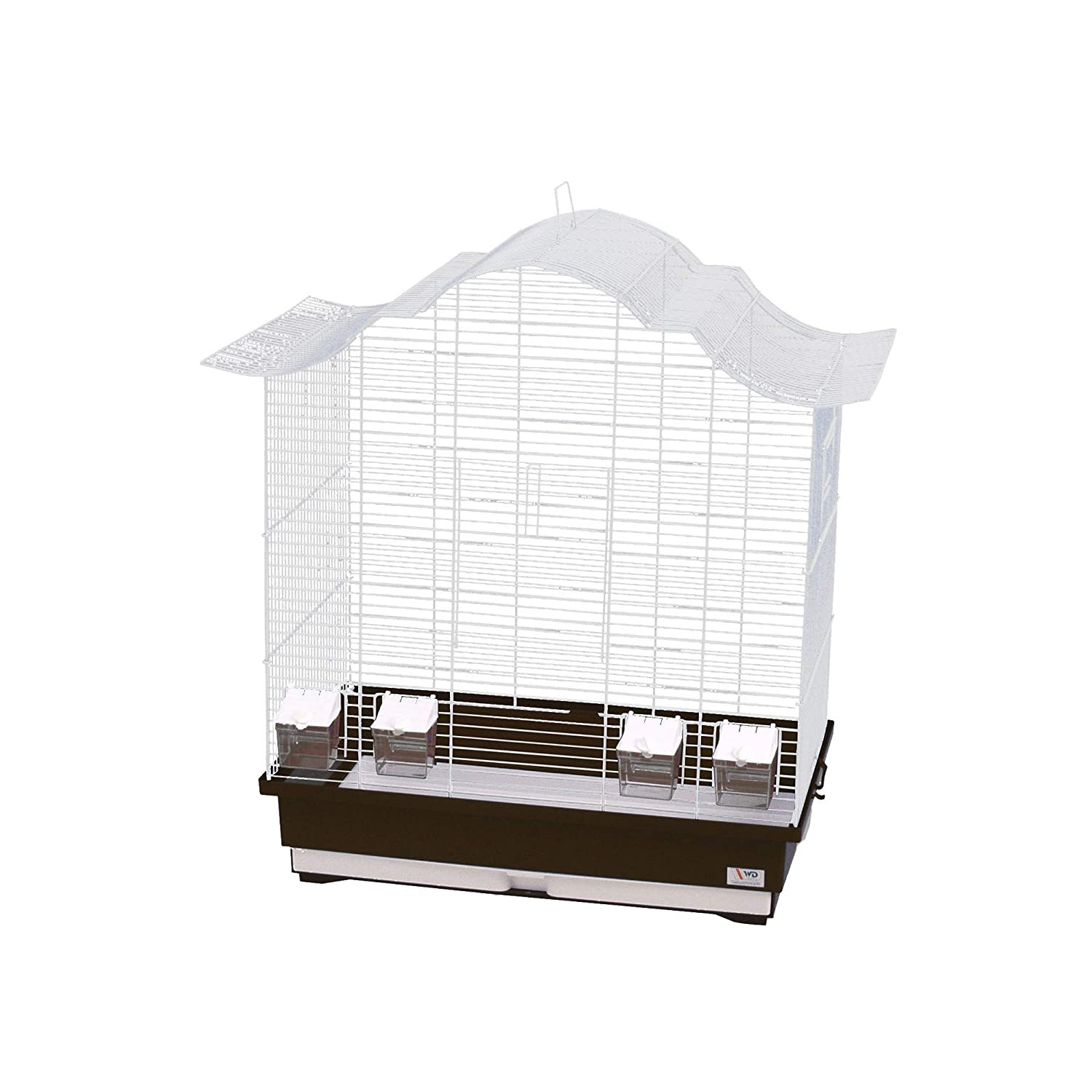 Decorwelt Asia 60 Bird Cages XXL Brown Outer Dimensions 70 x 42 x 72.5 cm Holiday Travel Cage Accessories Budgie Canary Cage Food Bowl Plastic Bird Model