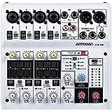 ammoon Mezclador de Audio 8 Canales Tarjeta de Sonido Digital Consola de Mezcla Soporte de Energía Phantom 48V Incorporado Desarrollado por 5V Power Bank con Adaptador de Corriente Cables USB (8 canales)