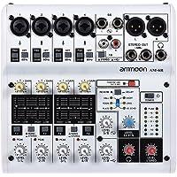 ammoon Mezclador de Audio 8 Canales Tarjeta de Sonido Digital Consola de Mezcla Soporte de Energía Phantom 48V Incorporado Desarrollado