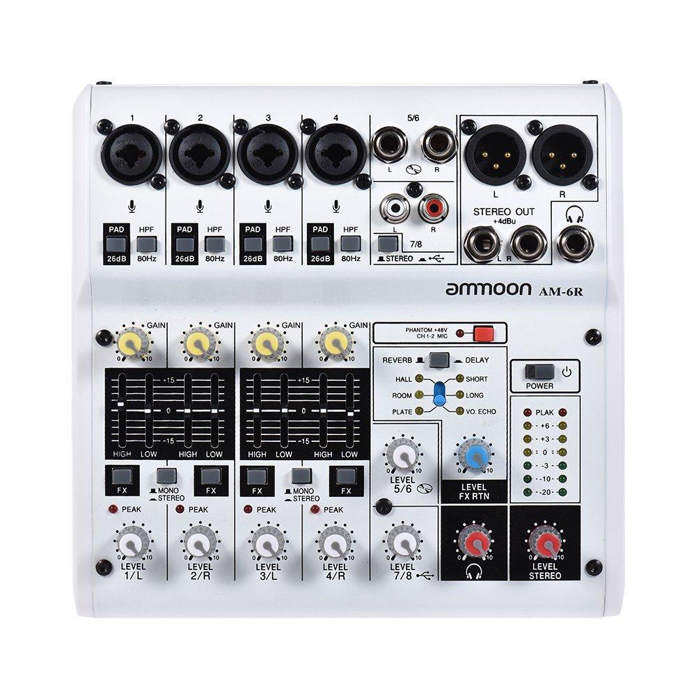 ammoon 6-Kanal-Soundkarte Digitaler Audio-Mixer Mischpult Eingebauter 48V Phantomspeisung Powered by 5V Power Bank mit Netzadapter USB-Kabel für die Aufnahme von DJ Network Live Broadcast Karaoke (8kanal) 5K-006