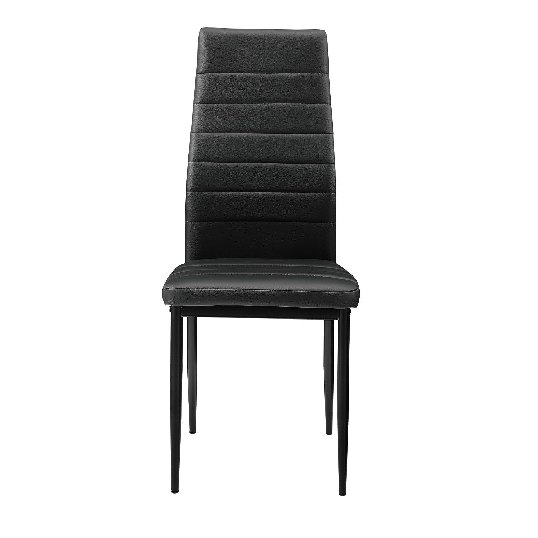 [en.casa]®] Juego de Comedor Moderno Mesa Blanco/Negro + 4 sillas Negras Piel sintética: Amazon.es: Juguetes y juegos