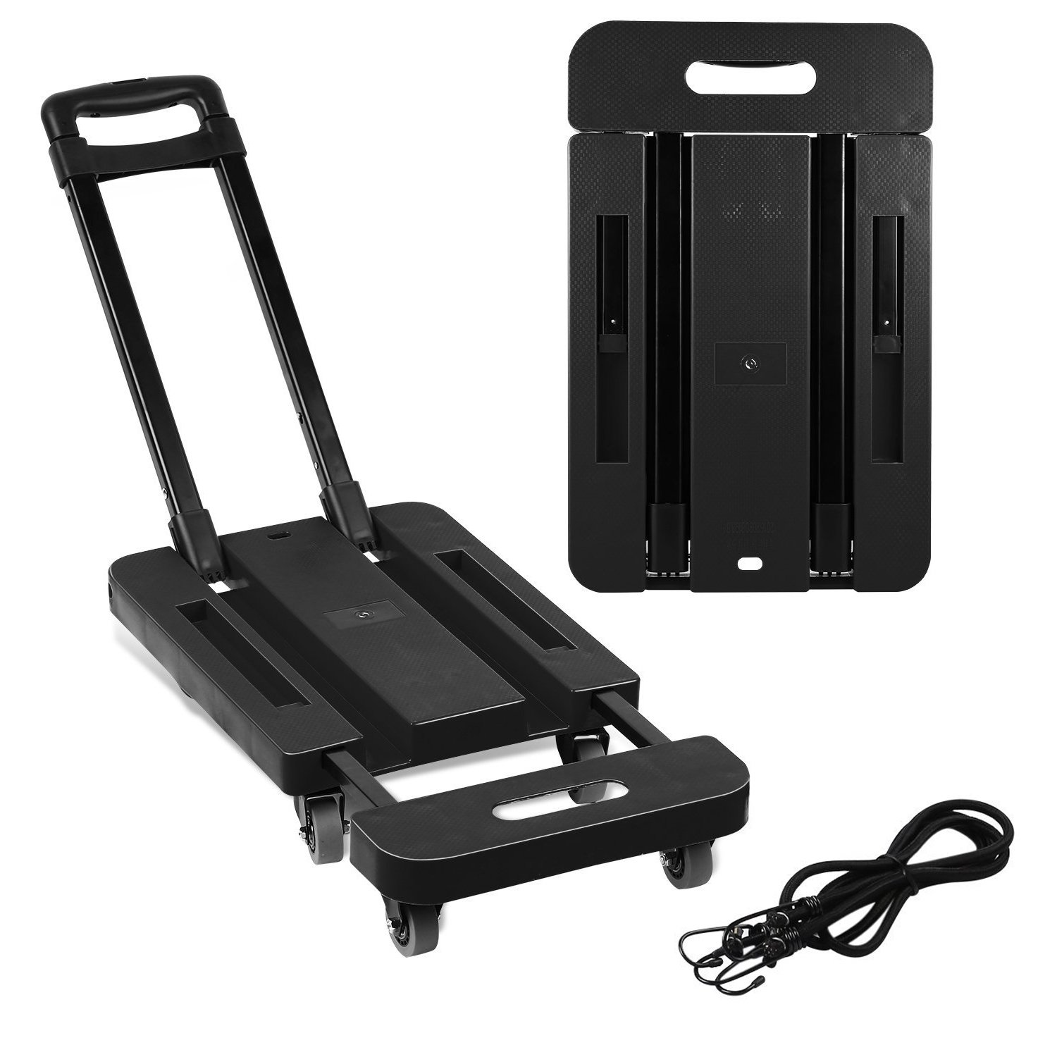 Foldable 6 Wheels Hand Trolley, Extendable Flat Luggage Cart Hand Trolley with 3-fold Handle & 2 supports strips