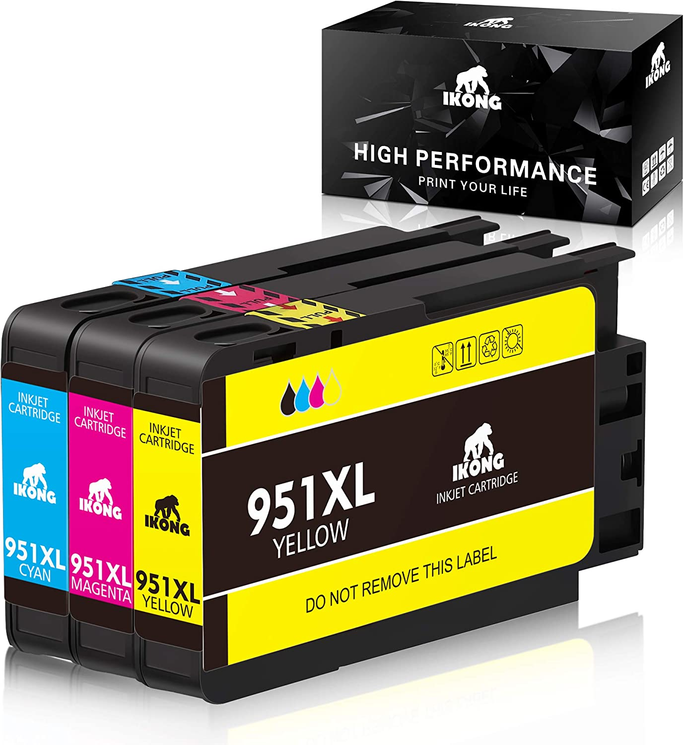IKONG Compatible Ink Cartridge Replacement for HP 951 XL Ink Cartridge Compatible with HP Officejet Pro 8600 8610 8620 8100 8630 8660 8640 8615 8625 (1 Cyan 1 Magenta 1 Yellow)