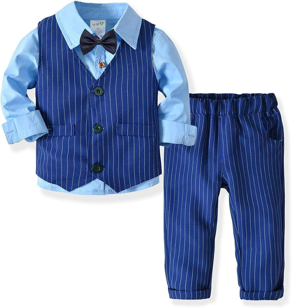 Zoerea Bambini Ragazzi Abbigliamento Set Camicia con Papillon Pantaloni Ragazzo Gentleman Nozze Smoking Battesimo Completino Gilet