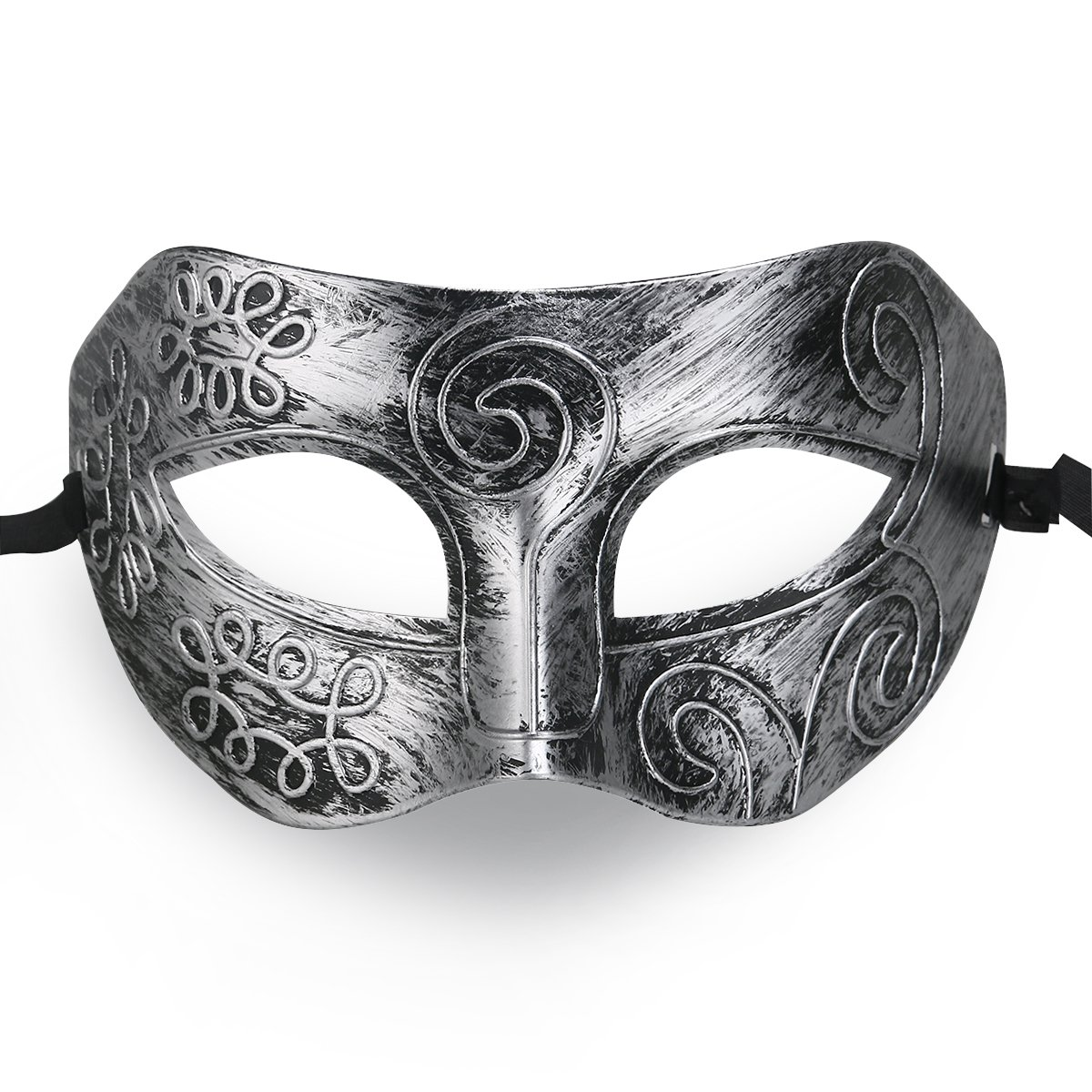 Cool Men Fighter Masquerade Face Mask for Ball Party Halloween Silver