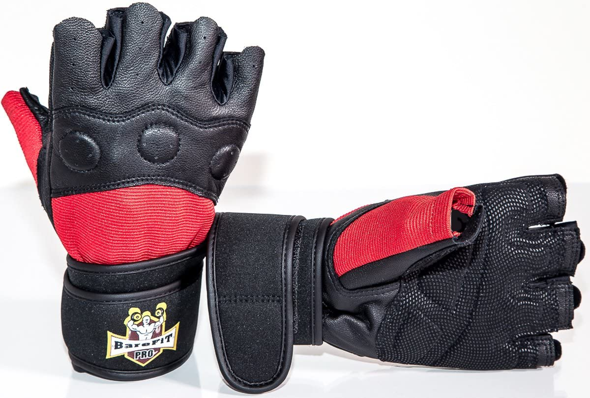 with Neoprene Wrist Support for Gym Workout Crossfit Weightlifting Fitness /& Cross Training Barefitpro Weight Lifting Leather Black and Red Gloves Warranty for Men /& Women Premium Quality Gear
