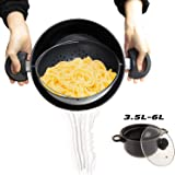 TV Cooking Pot Strainer Basket Always Stays Upright,3.5L-6L,Large Induction Pan with Non-Slip Stay Handles,3 Set,3.5L