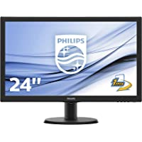 "Philips Monitor 243V5LHAB Gaming Monitor 23.6"" LED Full HD, 1920 x 1080, 250 cd/m², 1 ms Audio Integrato, Multimediale, HDMI, DVI, VGA, Attacco VESA, Nero"