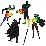 Superhero Magic Scratch Shapes and Scratching Sticks - 24 shapes and 12 sticks