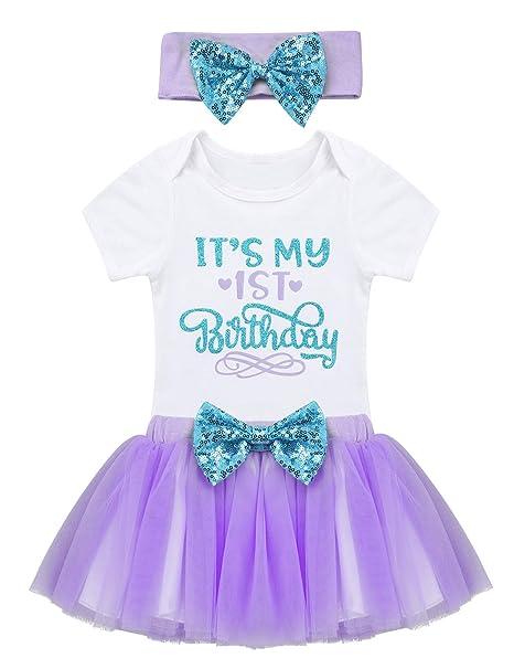 YiZYiF Conjuntos Bebés Niñas Primer Cumpleaño Peleles Body Blanco ...
