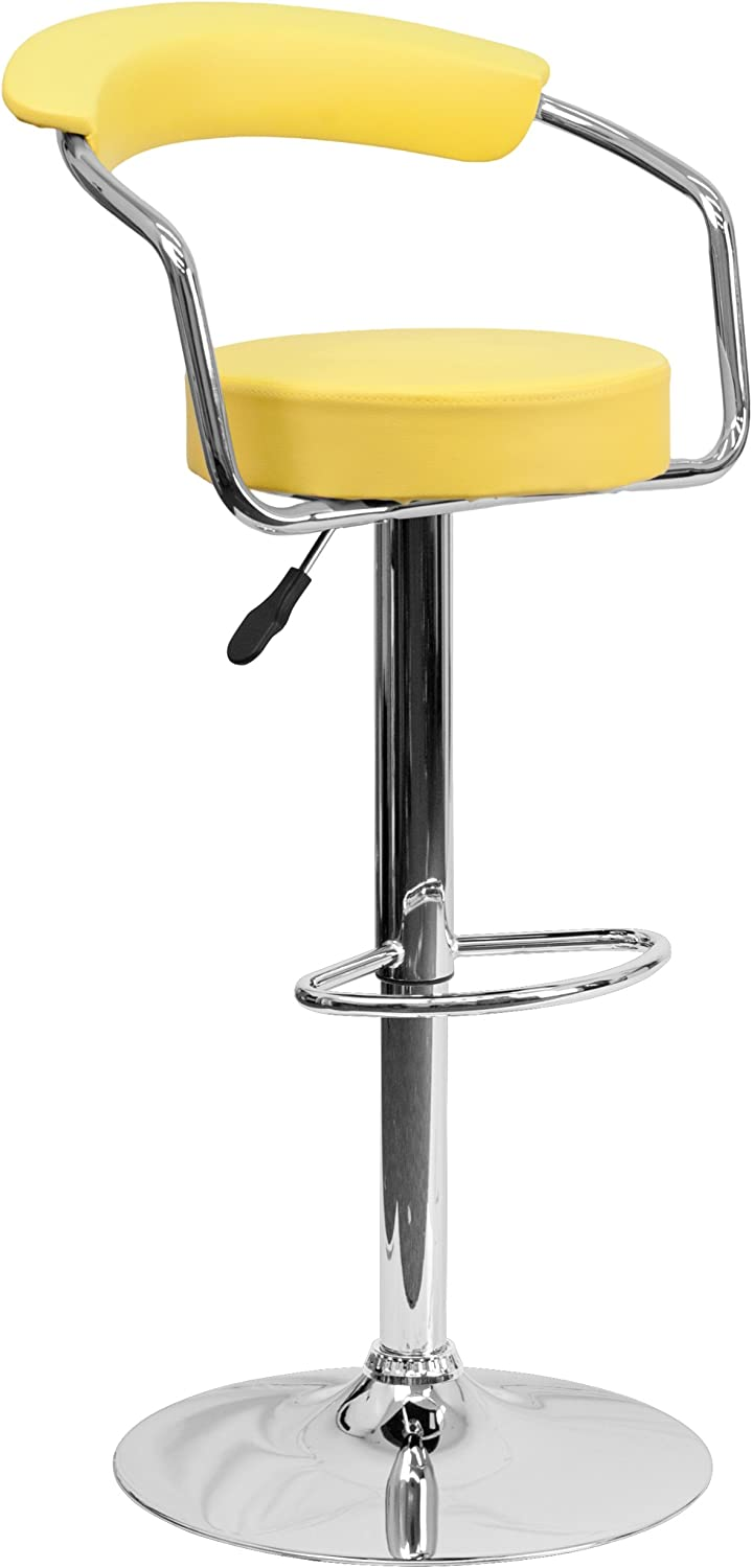 Flash Furniture Contemporary Yellow Vinyl Adjustable Height Barstool with Arms and Chrome Base