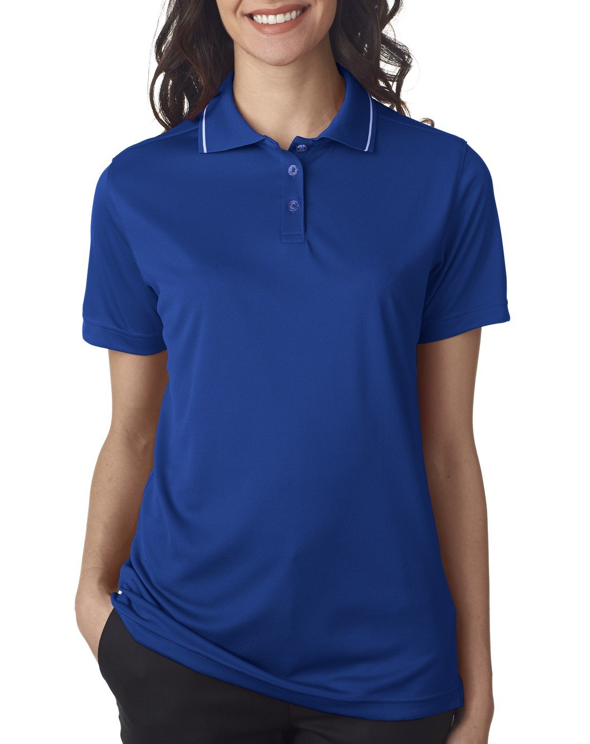 UltraClub Ladies' Polo with Tipped Collar - Royal/ White - 2XL