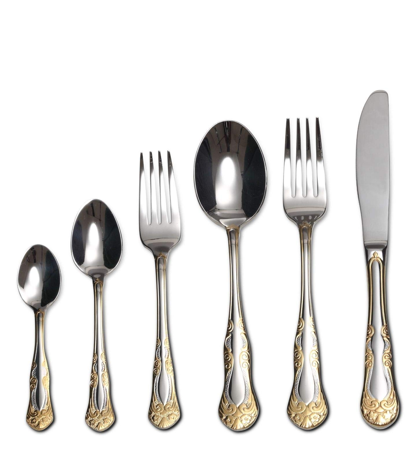 75-Piece Gold Flatware Set Dining Service for 12, 18/10 Premium Stainless Steel, 24K Gold-Plated Trim, Silverware Serving Set, Wood Storage Case (''Majestic'')