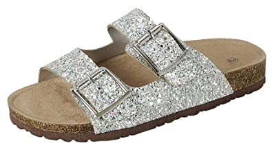 62d28fe7414d Cambridge Select Women s Open Toe Two Strap Buckle Glitter Slip-On Flat  Slide Sandal (