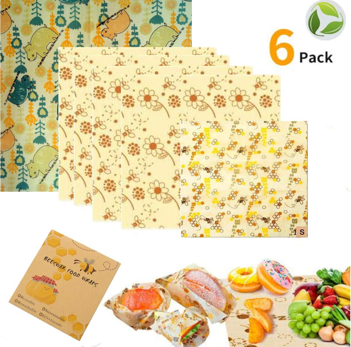 Beeswax Wraps Set of | Organic Natural Food Storage | Zero Waste Cheese and Sandwich Wrappers | Sustainable Plastic Free Washable Bowl Covers (A)