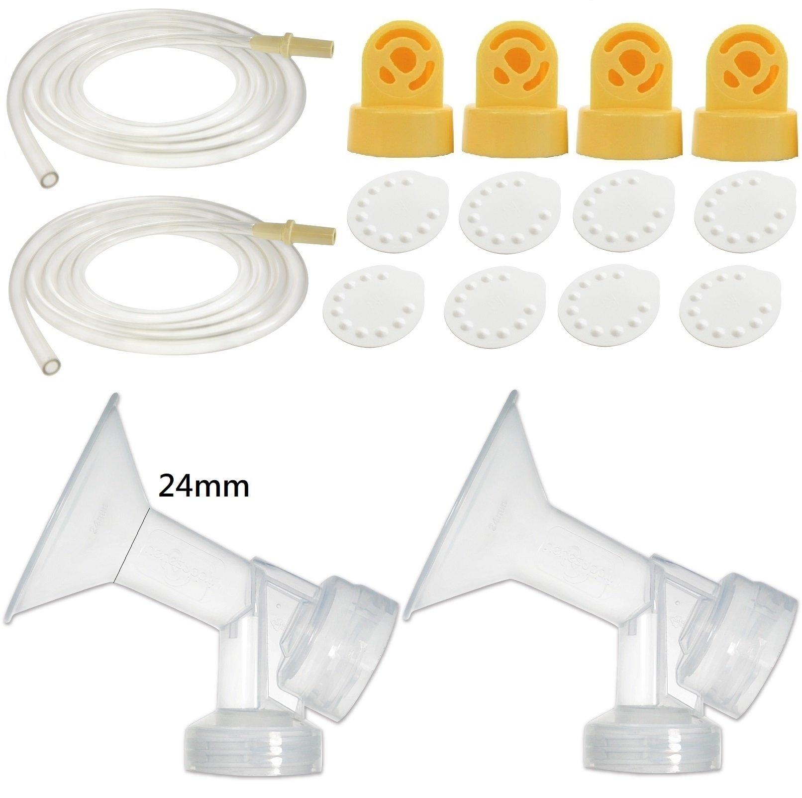 Nenesupply Compatible Pump Parts for Medela Pump in Style Breastpump 24mm Breastshield Valve Membrane Tubing Not Original Medela Pump Parts Replace Medela Pumpinstyle Parts Replace Medela Accessories by NENESUPPLY