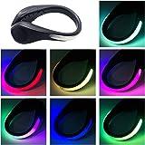 TEQIN Black Shell Colorful LED Flash Shoe Safety Clip Lights for Runners & Night Running Gear - Reflective Running Gear for Running, Jogging, Walking, Spinning or Biking + Velvet Bag - (Set of 2)
