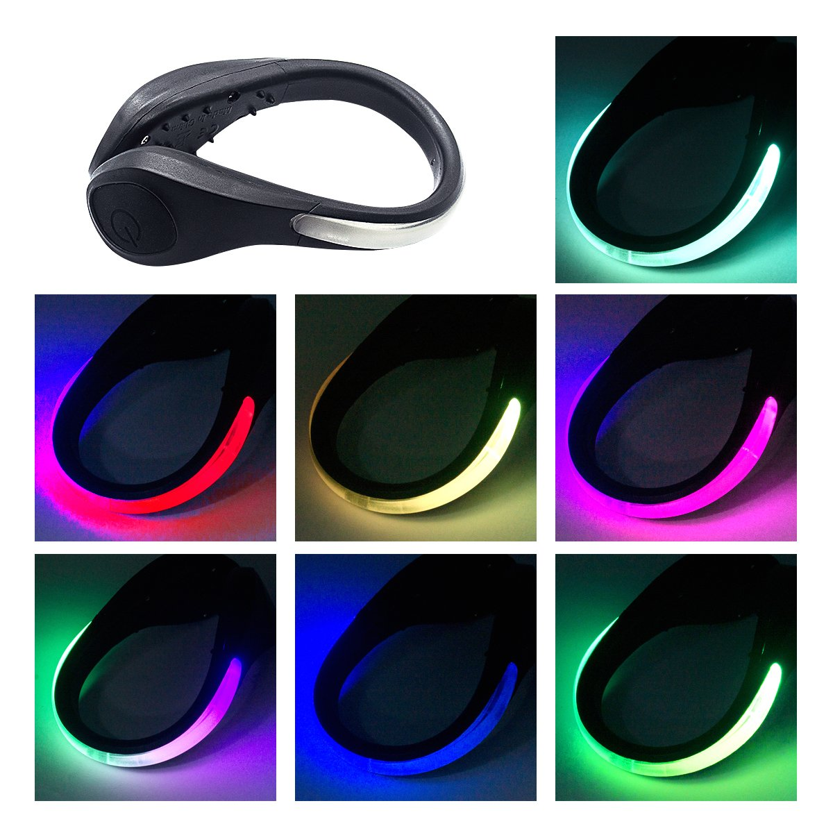 TEQIN Black Shell Colorful LED Flash Shoe Safety Clip Lights for Runners & Night Running Gear - Reflective Running Gear for Running, Jogging, Walking, Spinning or Biking + Velvet Bag - (Set of 2)