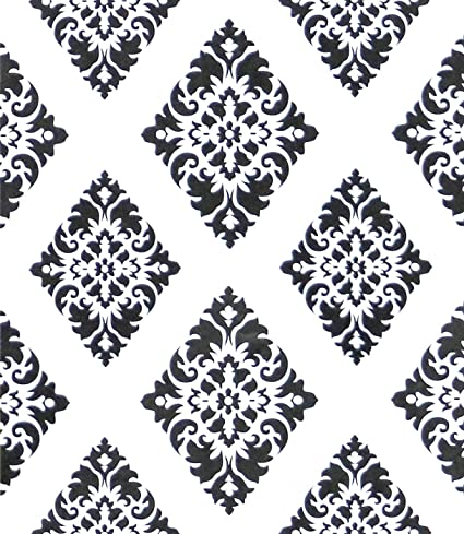Wallpaper Diamond Peel And Stick Wallpaper White And Black Removable Geometric Damascus Flower Contact Paper Black Wall Paper Wall Covering Self
