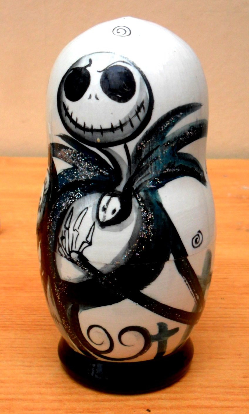 Jack skellington bathroom set - Amazon Com Russian Nesting Doll The Nightmare Before Christmas Jack Skellington Set Of 5 Piece Hand Painted In Russia Toys Games