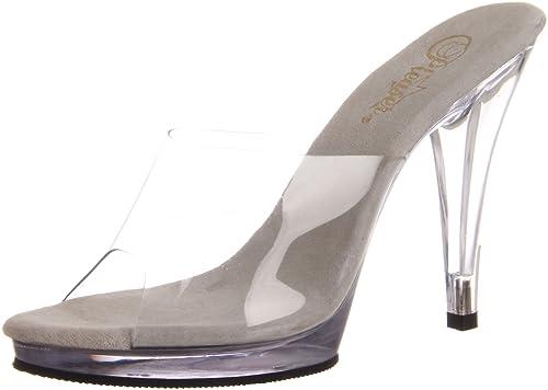 Zapatos con tacón de aguja con suela y tacón transparentes.