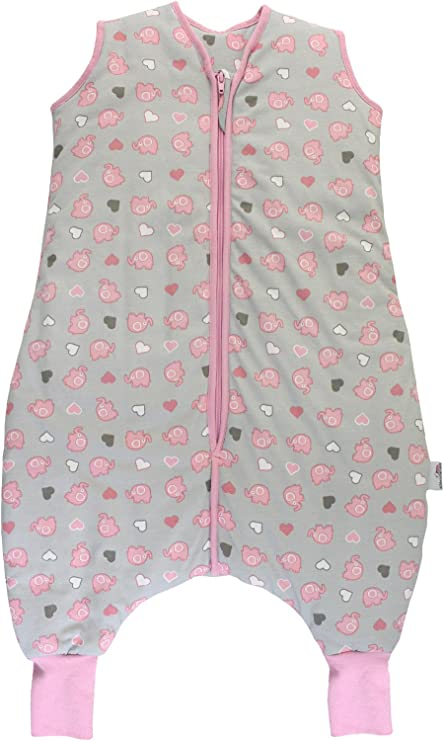 Slumbersac Summer Sleeping Bag with Feet 1.0 Tog Simply Pink Elephants 3-4 Years