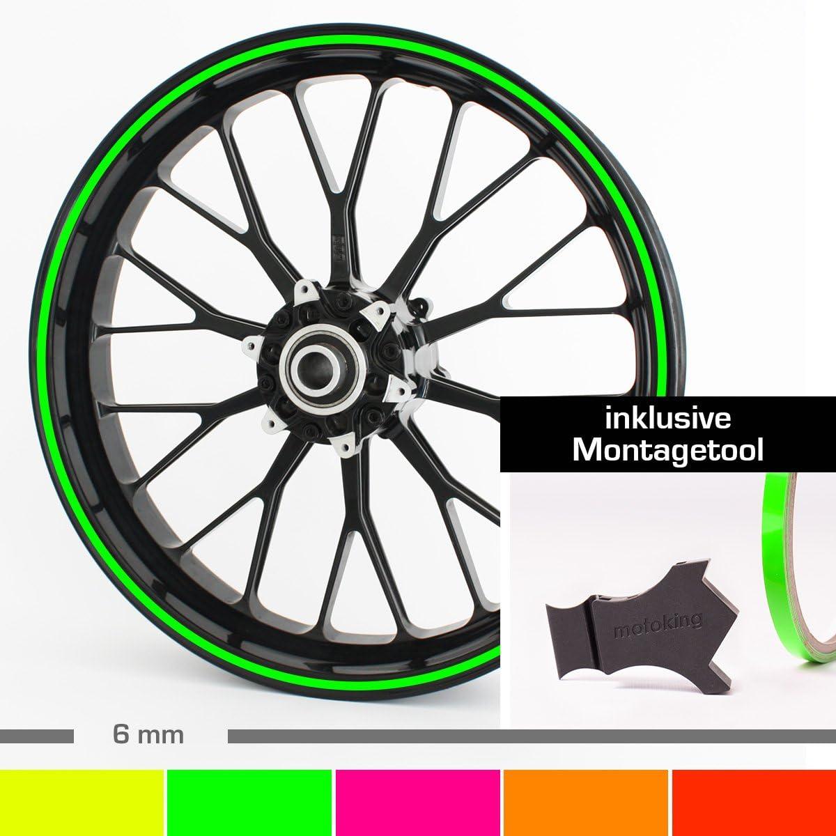 Motoking Felgenrandaufkleber mit Montagetool f/ür Ihr Motorrad in NEON PINK 6 mm//f/ür 10 bis 25