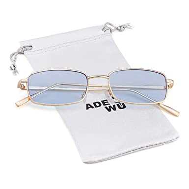 bba441daed ADEWU Square Sunglasses Fashion Retro Glasses for Women Men (Blue(lens) +  Gold (frame))  Amazon.co.uk  Clothing